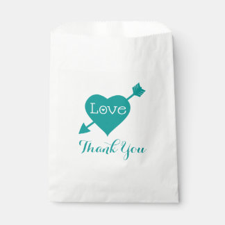 Teal Thank You Love Heart - Wedding, Bridal Shower Favour Bags