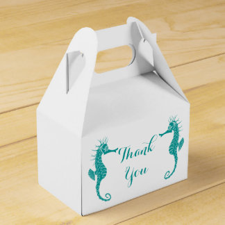 Teal Thank You Seahorse Wedding Party Beach Favour Box