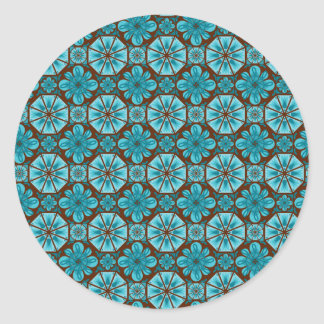 Teal Tile Round Sticker