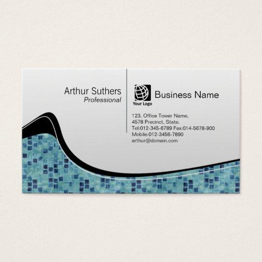 Teal Tiles Wave Pattern Business Card