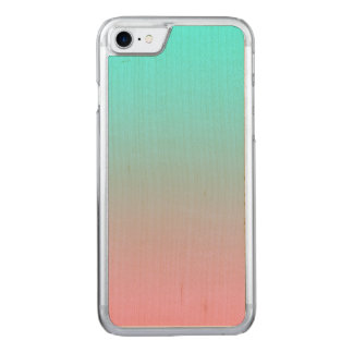 Teal to Pink Simple Gradient Blended Background Carved iPhone 8/7 Case