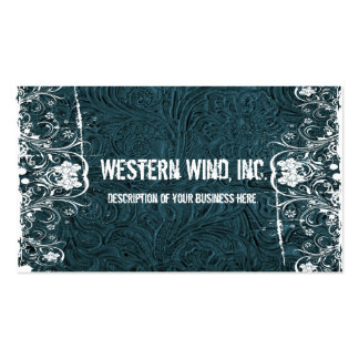 Teal Tooled Leather and Lace Business Card