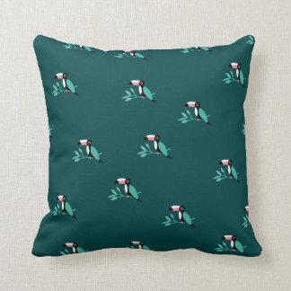 Teal toucan birds tropical paradise pattern cushion