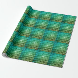 Teal Triangles in Space Wrapping Paper