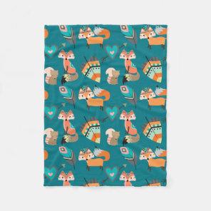 Teal Tribal Fox Pattern Fleece Blanket