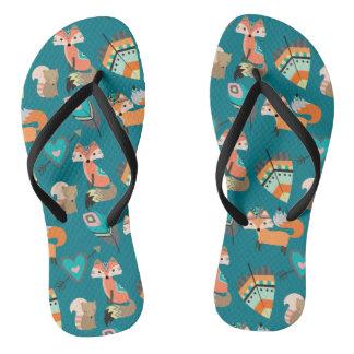 Teal Tribal Fox Pattern Flip Flops