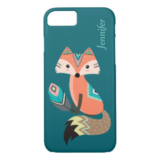 Teal Tribal Fox with Feather iPhone 8/7 Case