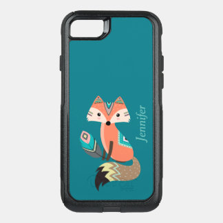 Teal Tribal Fox with Feather OtterBox Commuter iPhone 7 Case