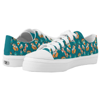 Teal Tribal Foxes Printed Shoes