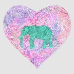 Teal Tribal Paisley Elephant Purple Henna Pattern