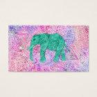 Teal Tribal Paisley Elephant Purple Henna Pattern Business Card