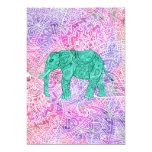 Teal Tribal Paisley Elephant Purple Henna Pattern 13 Cm X 18 Cm Invitation Card
