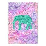 Teal Tribal Paisley Elephant Purple Henna Pattern 9 Cm X 13 Cm Invitation Card
