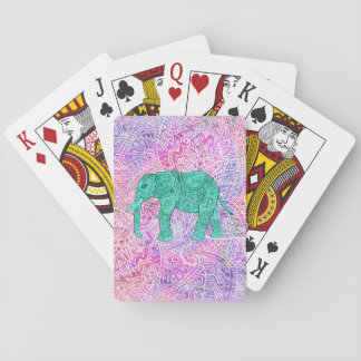 Teal Tribal Paisley Elephant Purple Henna Pattern Playing Cards