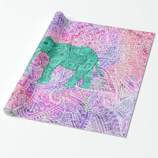 Teal Tribal Paisley Elephant Purple Henna Pattern Wrapping Paper