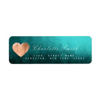 Teal Tropic Heart Pink Gold Return Address Labels