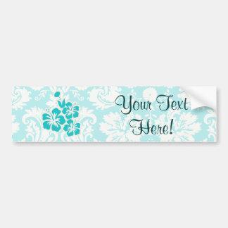 Teal Tropical Flowers Bumper Sticker