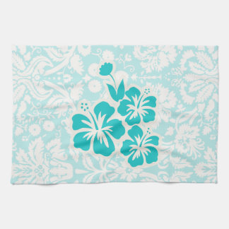 Teal Tropical Flowers Tea Towel