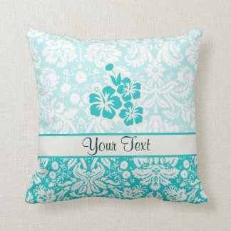 Teal Tropical Flowers Throw Pillow