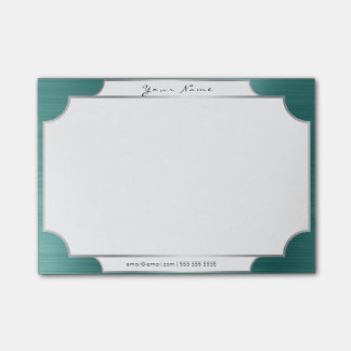 Teal Tropical Green Minimal Silver Elegant Office Post-it Notes