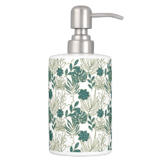 Teal Tropical Monstera Botanical White Leafs Green Soap Dispenser And Toothbrush Holder