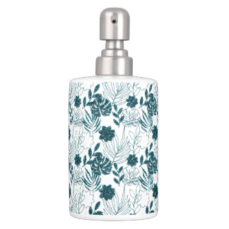 Teal Tropical Monstera Botanical White Leafs Palm Soap Dispenser And Toothbrush Holder