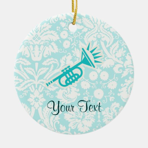 Teal Trumpet Ornament
