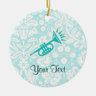 Teal Trumpet Round Ceramic Decoration