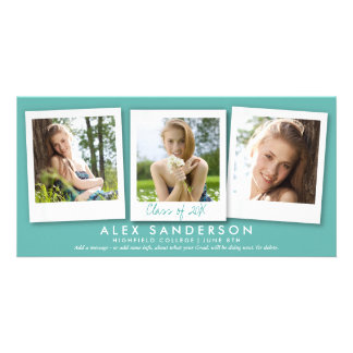 Teal/Turquoise 3 Photo Graduation Announcement Photo Card Template