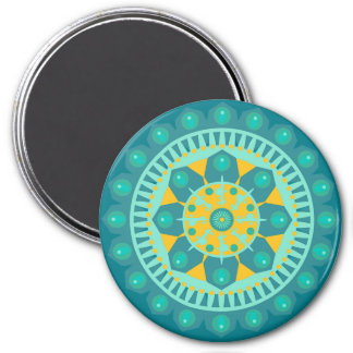 Teal, Turquoise and Orange Mandala Magnet