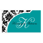 Teal Turquoise Black Damask Business Cards