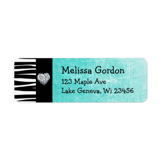 Teal Turquoise Black Zebra Stripes Return Address Return Address Label