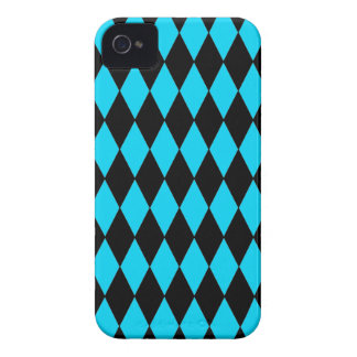 Teal Turquoise Blue and Black Diamond Pattern iPhone 4 Case-Mate Case