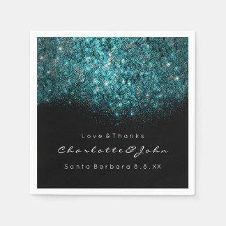 Teal Turquoise Blue Black White Confetti Sequin Disposable Serviette