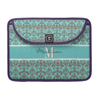 Teal Turquoise blue & Brown Damask,  Personalised Sleeve For MacBook Pro