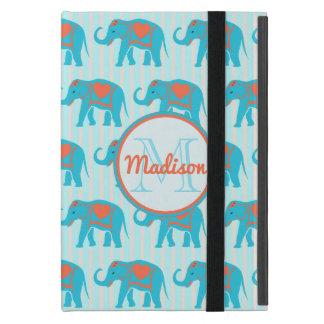 Teal turquoise, blue Elephants, blue stripes name iPad Mini Cover