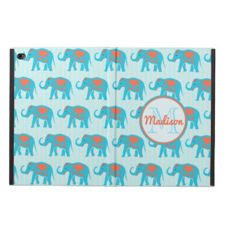 Teal turquoise, blue Elephants, blue stripes name Powis iPad Air 2 Case
