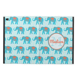 Teal turquoise, blue Elephants, blue stripes name Powis iPad Air 2 Case