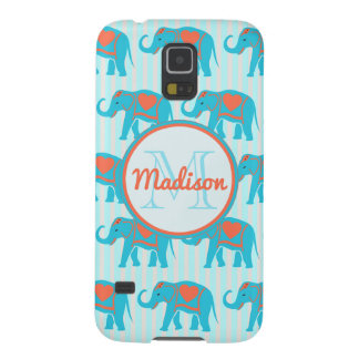 Teal turquoise, blue Elephants on blue stripe name Galaxy S5 Covers