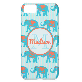 Teal turquoise, blue Elephants on blue stripe name iPhone 5C Case