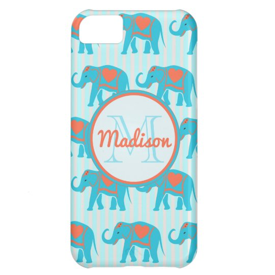 Teal turquoise, blue Elephants on blue stripe name