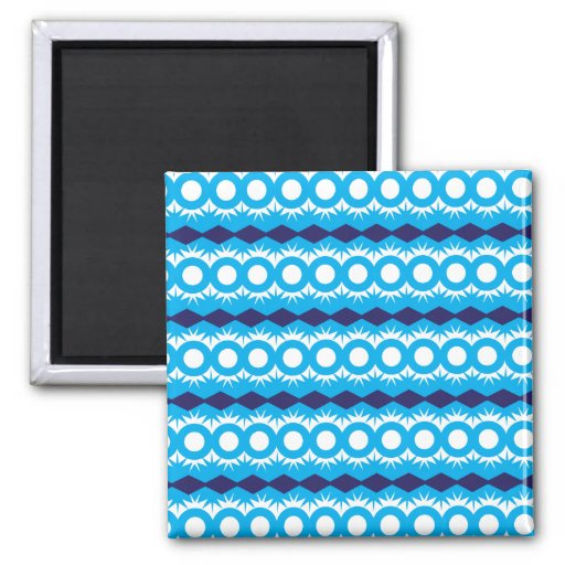 Teal Turquoise Blue Geometric Pattern Design Refrigerator Magnets