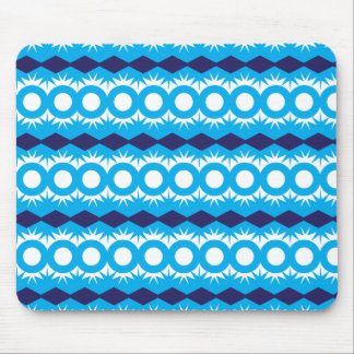 Teal Turquoise Blue Geometric Pattern Design Mouse Pad