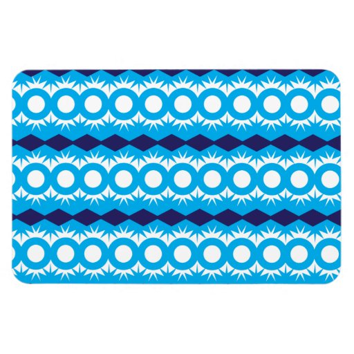 Teal Turquoise Blue Geometric Pattern Design Flexible Magnets