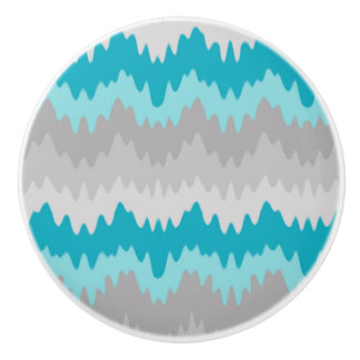 Teal Turquoise Blue Grey Gray Chevron Ombre Fade Ceramic Knob