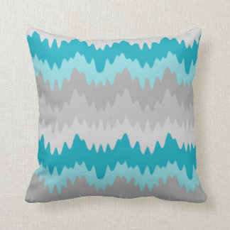 Teal Turquoise Blue Grey Gray Chevron Ombre Fade Cushion
