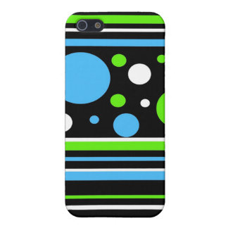 Teal Turquoise Blue Lime Green Stripes Polka Dots Case For The iPhone 5