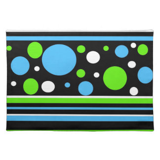 Teal Turquoise Blue Lime Green Stripes Polka Dots Placemats