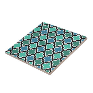 Teal Turquoise Blue Moroccan Quatrefoil Pattern Small Square Tile