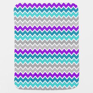 Teal Turquoise Blue Purple Grey Gray Chevron Baby Blanket